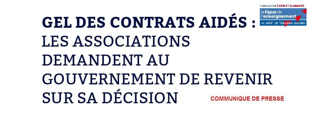 Communique de presse : Gel des contrats aidés
