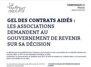 Gel des contrats aidés, le communiqué de presse
