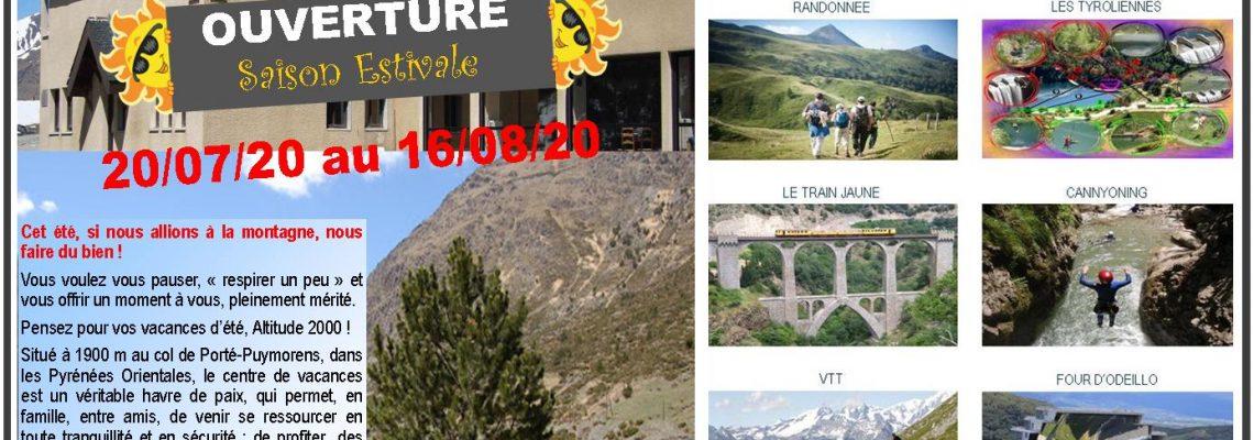 """OUVERTURE ÉTÉ Chalet """"Altitude 2000"""" Porté Puymorens"""